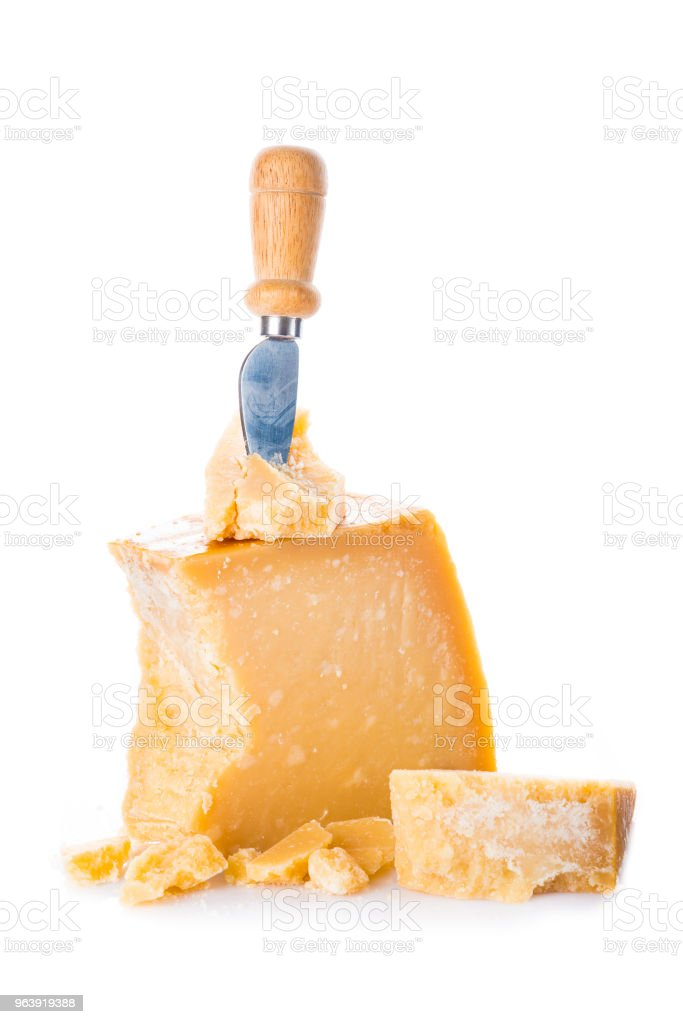 Parmesan cheese or parmigiano reggiano isolated on white background - Royalty-free Appetizer Stock Photo