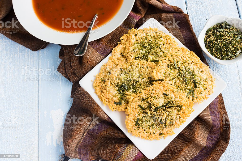 Parmesan Furikake Crisps stock photo