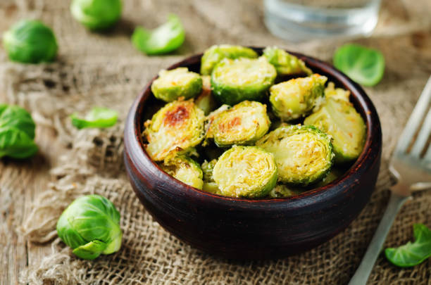 Parmesan Roasted Brussel Sprouts stock photo