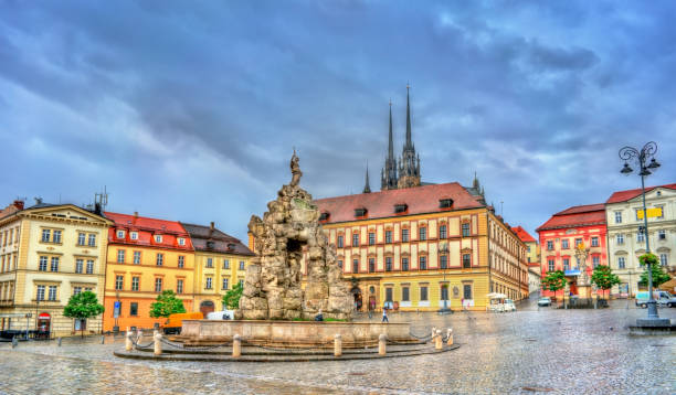 Parnas Fountain on Zerny trh square in the old town of Brno, Czech Republic Parnas Fountain on Zerny trh square in the old town of Brno - Moravia, Czech Republic moravia stock pictures, royalty-free photos & images