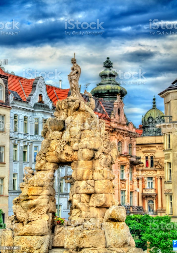 Parnas Fountain on Zerny trh square in the old town of Brno, Czech Republic stock photo