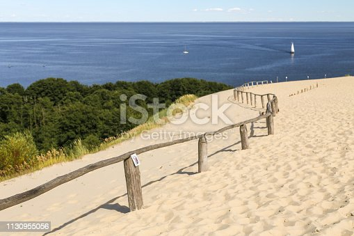 Parnidis sand dune. One the the most beautiful places in Lithuania, popular tourist point. Located in Nida, in Curonian Spit - land strip between curonian lagoon and baltic sea. Unesco heritage site.