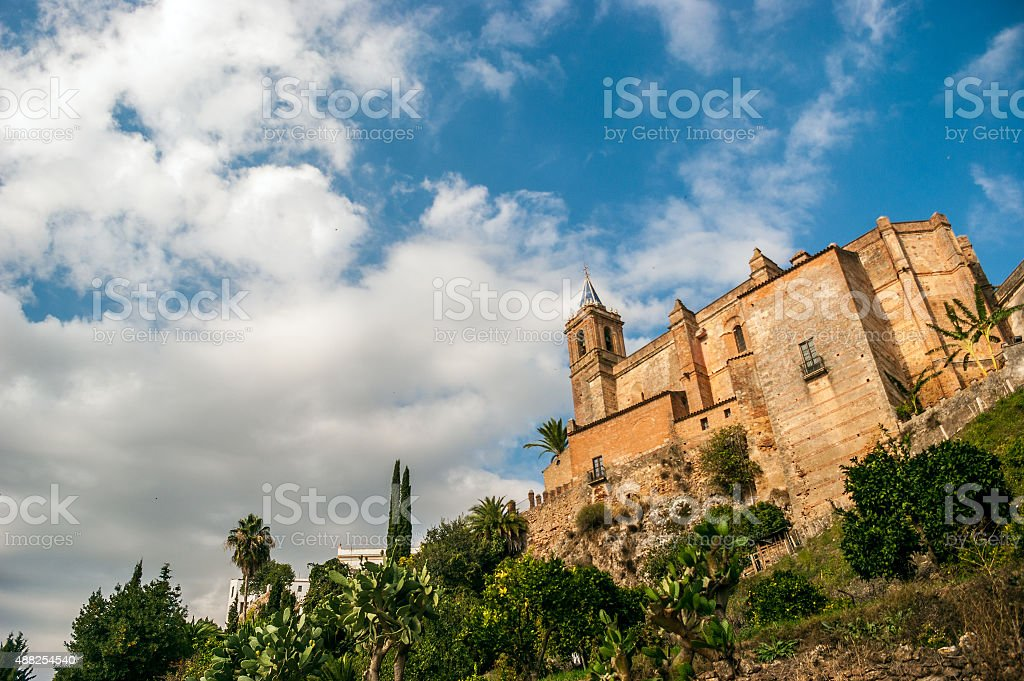 Parochial church of the Immaculate Conception, in Zufre stock photo