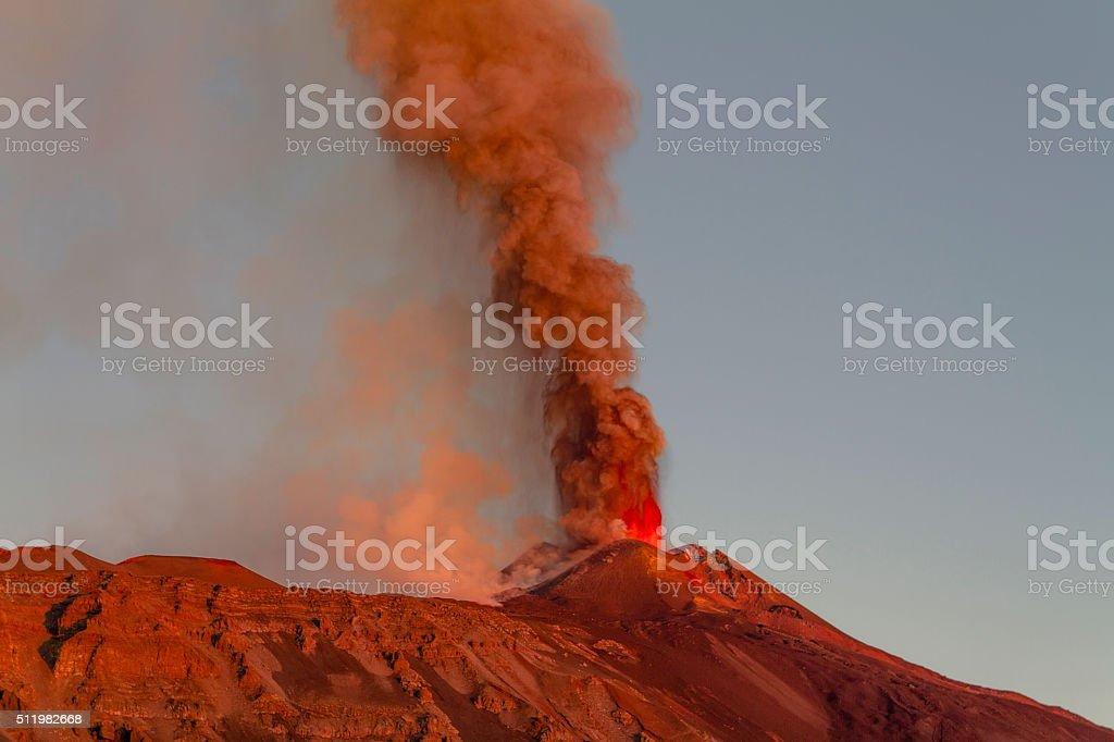 Paroxysm of Etna volcano at dawn stock photo