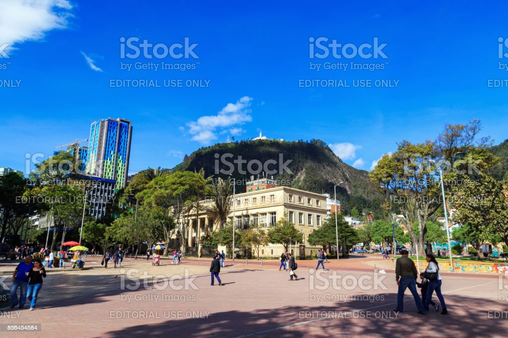 Parque de Los Periodistas with Monserrate in the background stock photo