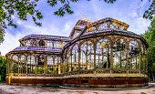 parque retiro palacio de cristal palace madrid spain park hdr