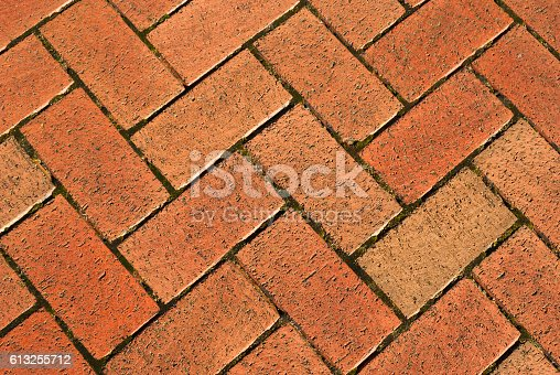 A landscape image of brickwork in a Parquet pattern used on a public pavement.