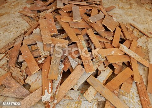 Benevento, Campania, Italy - October 1, 2016: parquet cherry planks demolished after damage caused by a domestic flooding