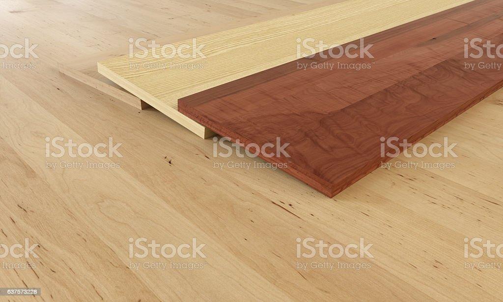 Parquet examples on wooden floor - 3D Rendering stock photo