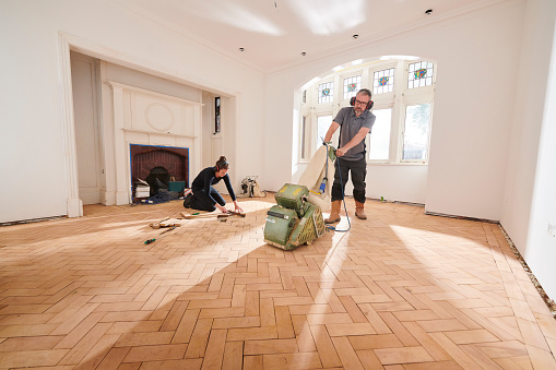 Parquet Floor Sanding Stock Photo - Download Image Now - iStock