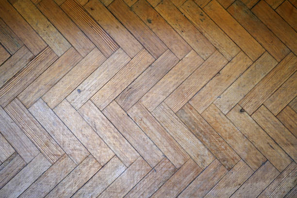 parquet wooden floor - chevron stock photos and pictures
