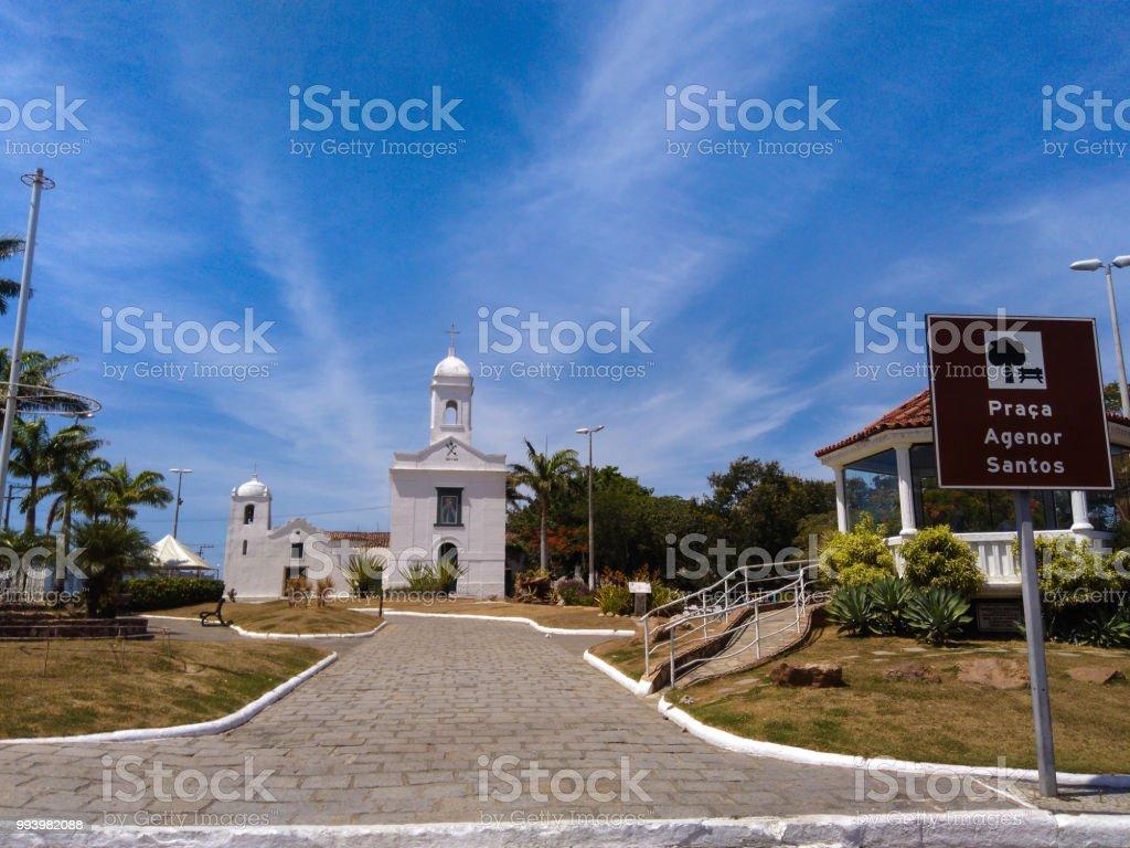 Paróquia de São Pedro - Old historic catholic church stock photo