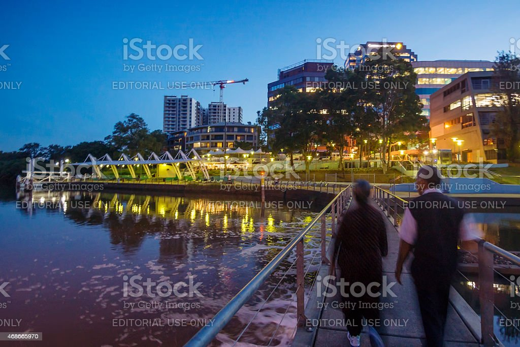 Parramatta at dusk stock photo