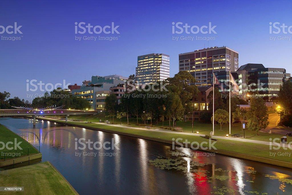 Parramatta at night stock photo