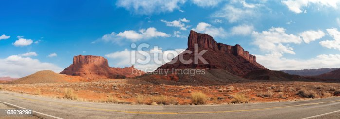 Panoramic view of Scenic Byway 128 at Castle Valley, Moab, Utah, USA.