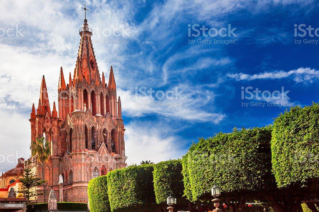 Parroquia Jardin Archangel Church San Miguel Mexico stock photo