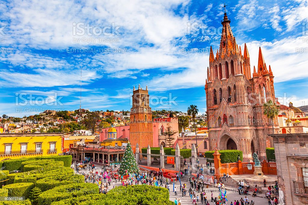 Parroquia Rafael Churches Jardin  San Miguel de Allende Mexico stock photo