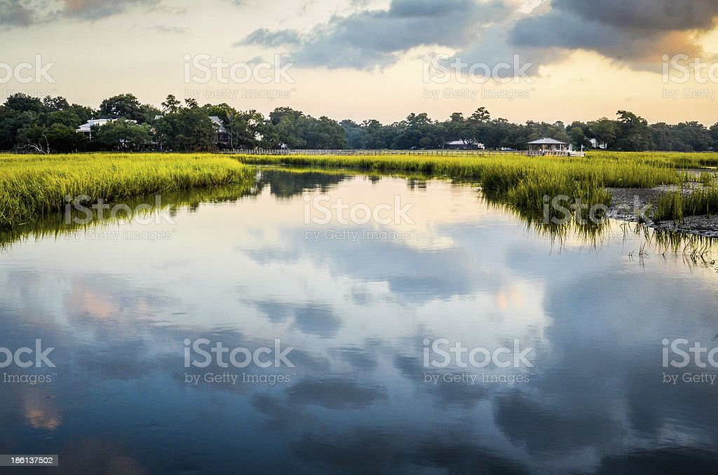 Parrot Creek in Charleston, South Carolina stock photo
