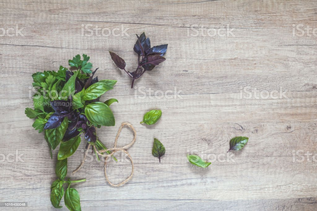 Parsley and basil bunch of bouquets on light wooden surface. Top...