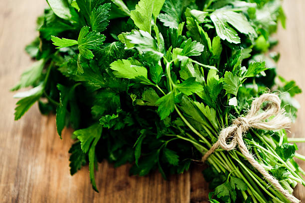 parsley bouquet - parsley stock photos and pictures