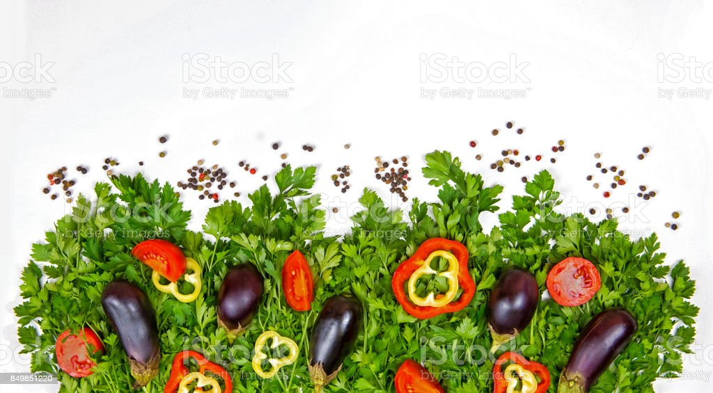 Parsley on a white background, vegetables and greens on a white background, a background of vegetables stock photo