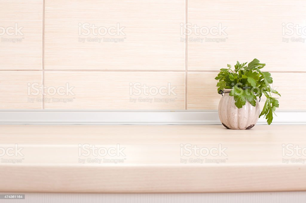 Parsley on countertop stock photo