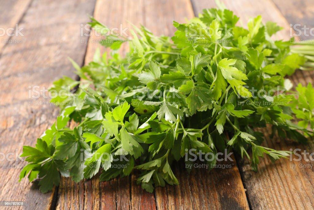 parsley on wood background royalty-free stock photo