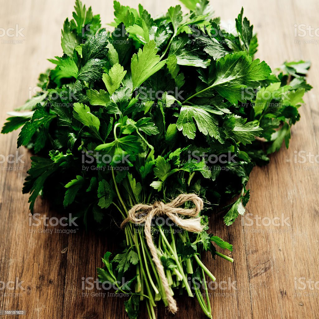 Parsley tied together into a bouquet with twine stock photo