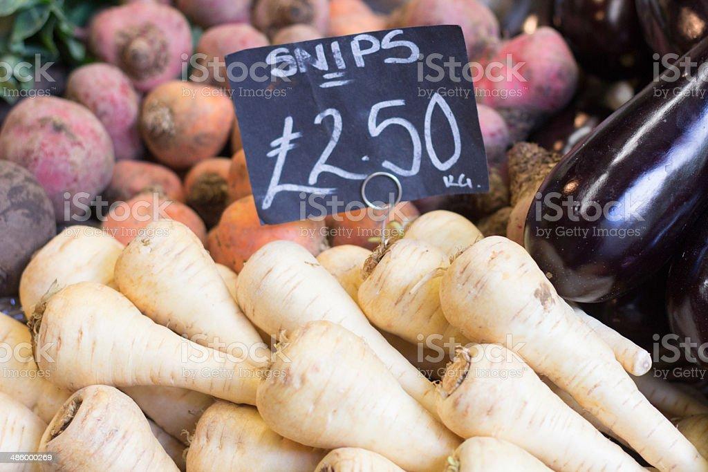 Parsnips in Borough Market, London royalty-free stock photo