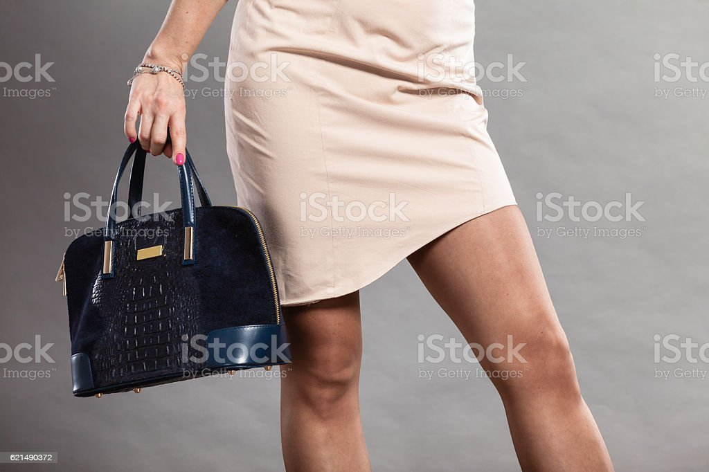 Part body of elegant woman with bag. Lizenzfreies stock-foto
