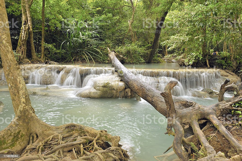 Part from the Erawan waterfall royalty-free stock photo