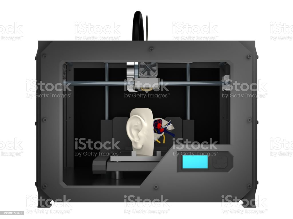 part head in 3d printer 3d rendering stock photo