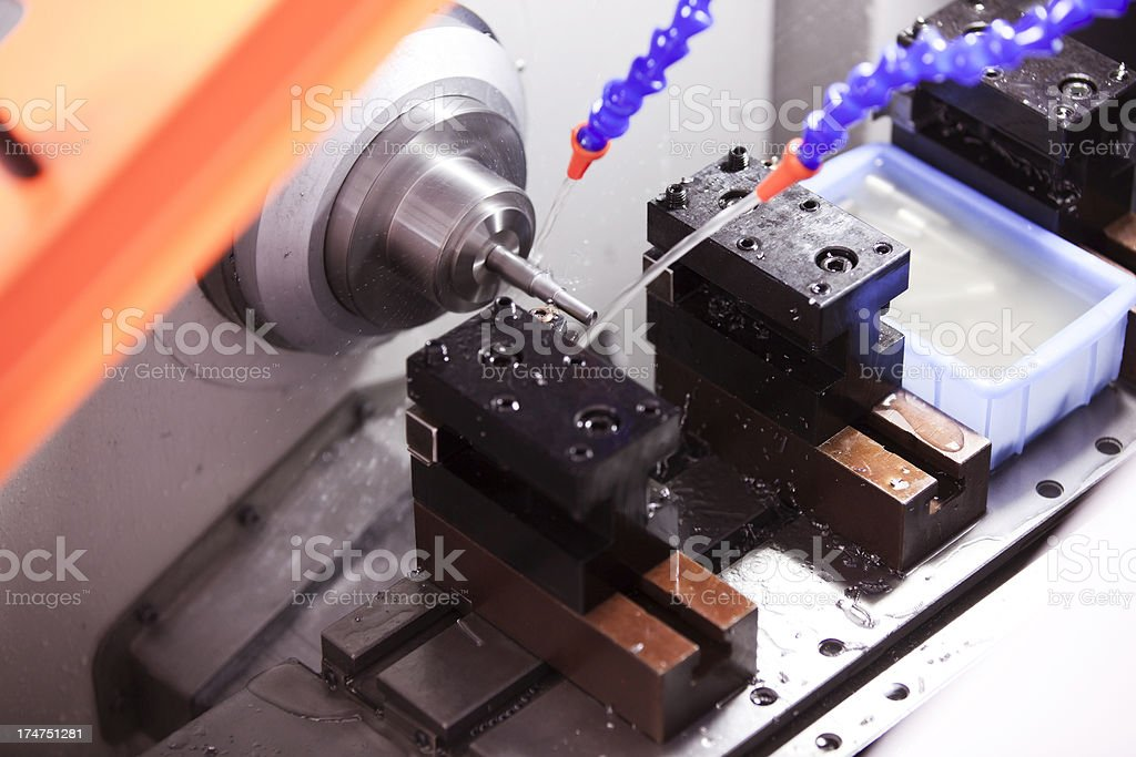 Part Machining On CNC royalty-free stock photo