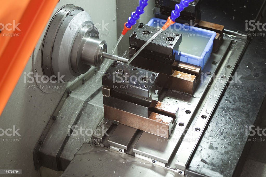 Part Machining On CNC royalty-free stock photo