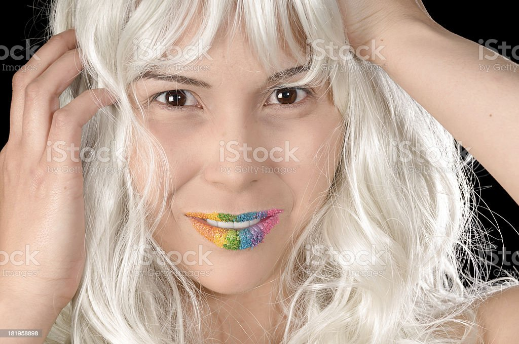 Part Native model with hands in white wig royalty-free stock photo
