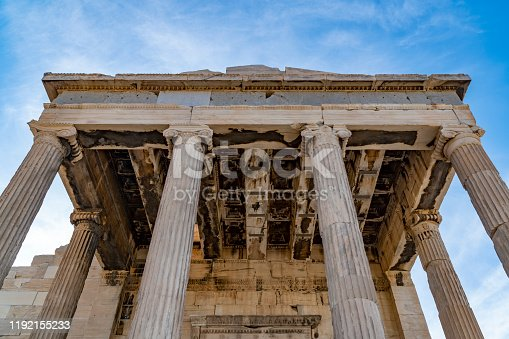 In sunny day, close up parts of Acropolis; masterpiece of ancient greek civilazition.