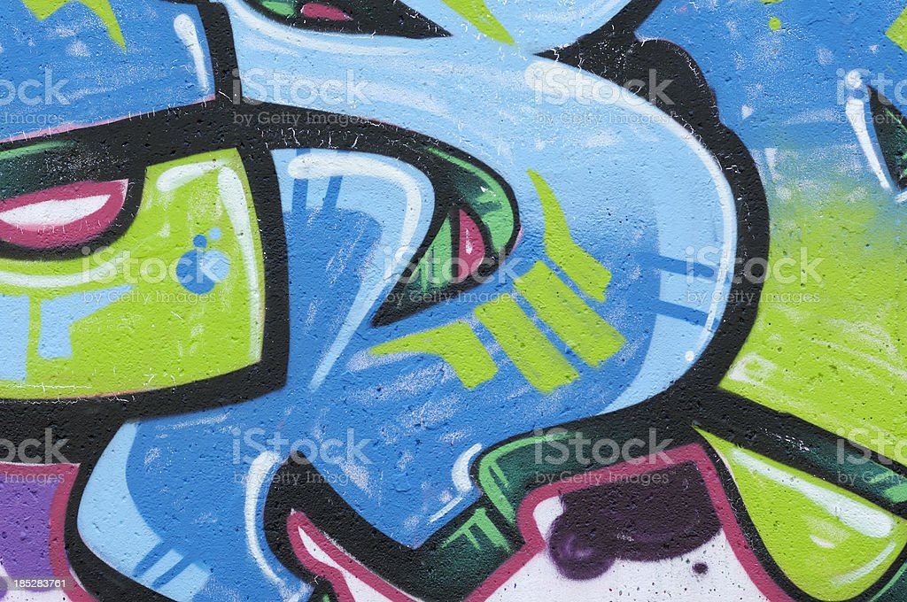 Teil einer blauen und grünen graffiti – Foto
