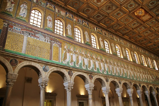 Part of a huge mosaic wall frieze in the medieval Basilica di Sant'Apollinare in Ravenna, Italy.