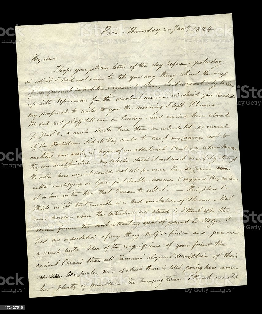 Part of a letter from Pisa, Italy, 1824 stock photo