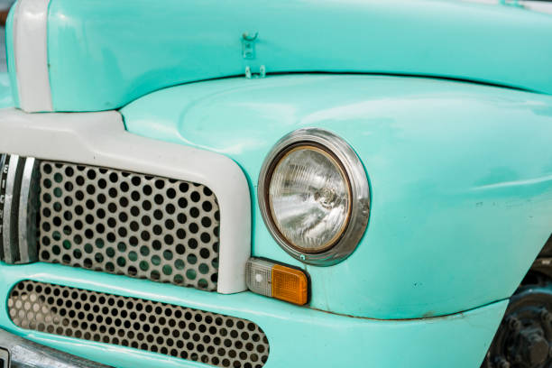 Part of a turquoise 1950's classic car, in Trinidad, Cuba stock photo