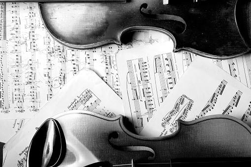 Part of a violin with sheetmusic