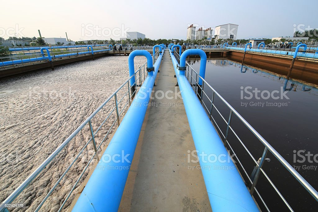 Part of a waste water treatment scene stock photo