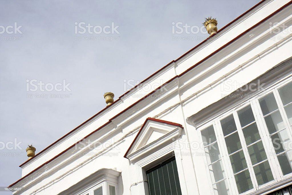 Part of a white facade. royalty-free stock photo