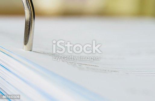 Part of A4 ring binder. Close-up, selective focus.
