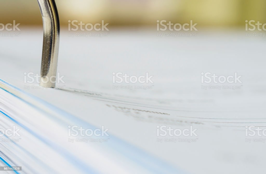 Part of A4 ring binder. Close-up, selective focus. stock photo