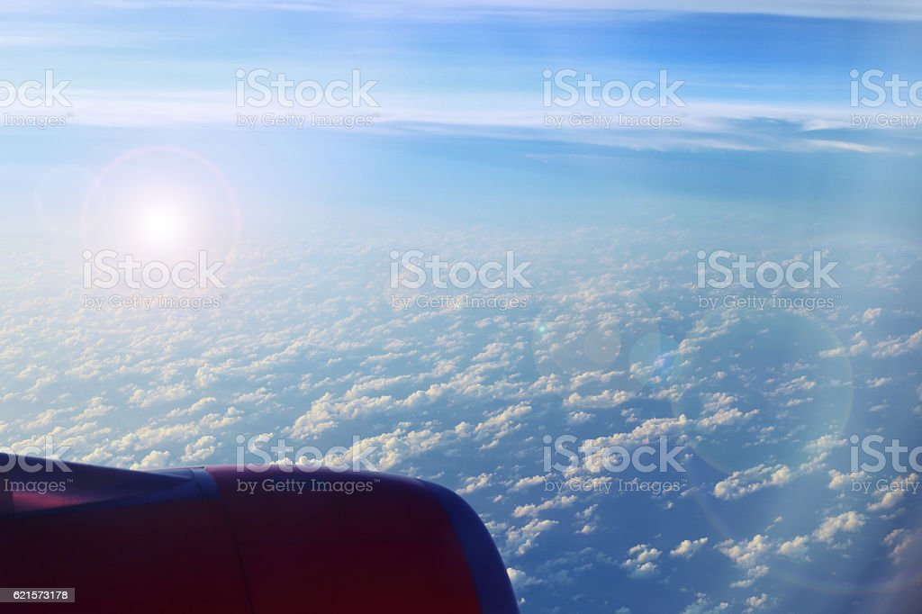 Part of aircraft or plane on the clouds, flying background. photo libre de droits