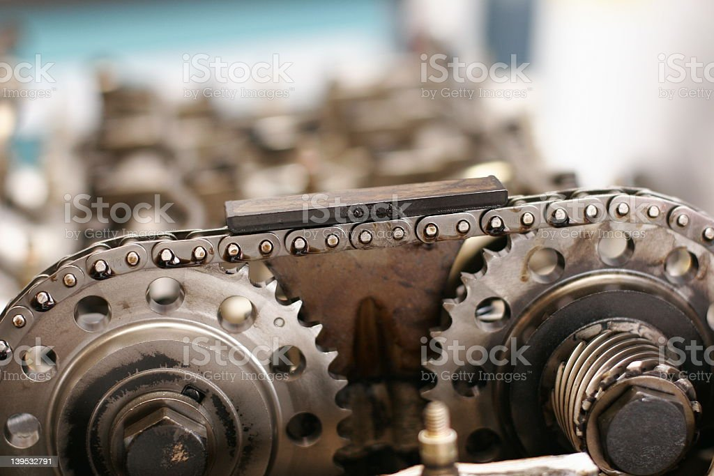 Part of an engine timing chain royalty-free stock photo