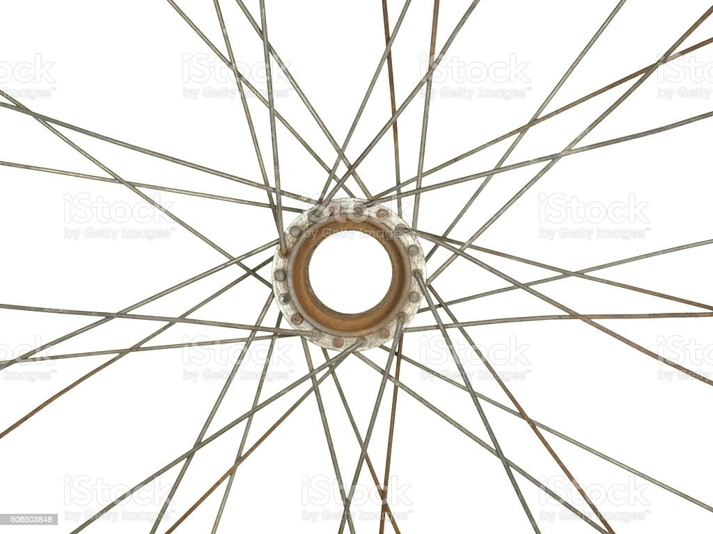 Part of an old bicycle wheel, isolated on white background. stock photo