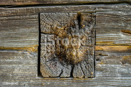 1124475954 istock photo Part of an old log exterior wall 1239449142