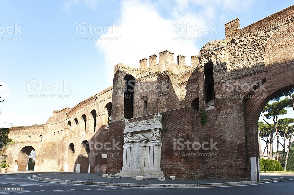 Part of Avrelian wall in Rome. royalty-free stock photo